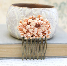 Load image into Gallery viewer, Peach Chrysanthemum Comb - C1079