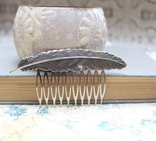 Load image into Gallery viewer, Feather Comb - Antique Silver