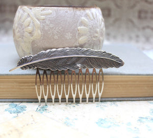 Feather Comb - Antique Silver