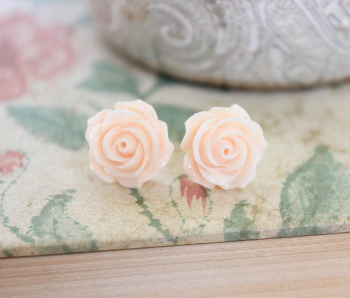 Light Peach Rose Stud Earrings -  Flower Studs
