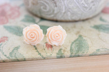 Load image into Gallery viewer, Light Peach Rose Stud Earrings -  Flower Studs
