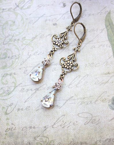 Long Filigree Earrings - Crystal Glass