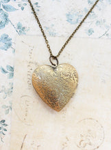 Load image into Gallery viewer, Large Heart Locket - Antiqued Brass