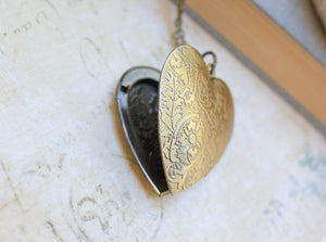 Large Heart Locket - Antiqued Brass