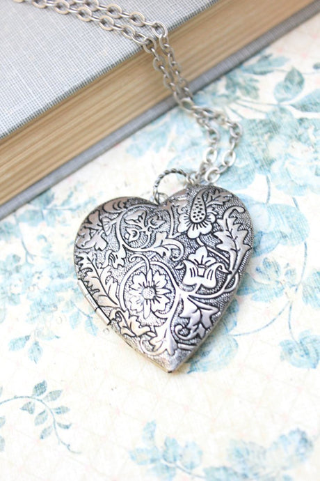 Large Heart Locket - Silver