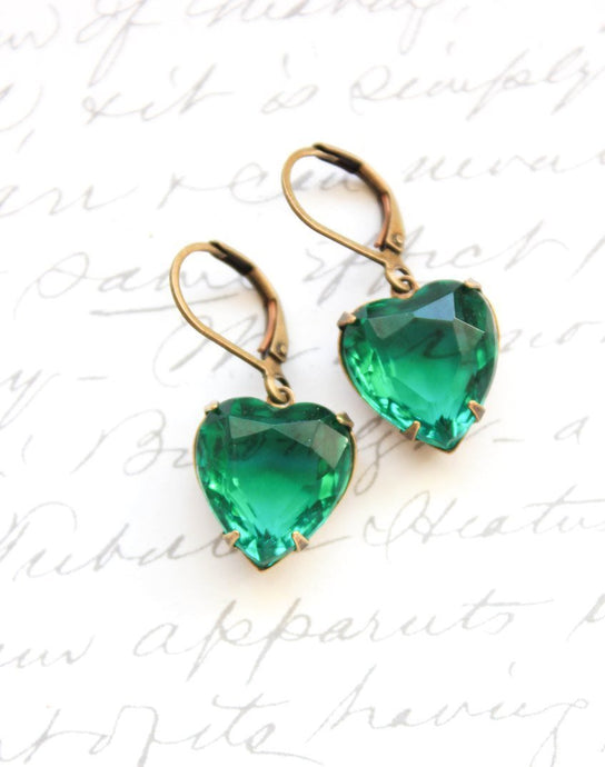 Emerald Green Glass Heart Earrings