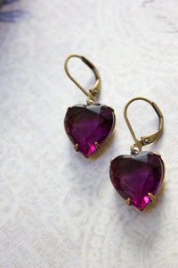 Purple Heart Earrings -Vintage Glass