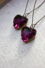 Load image into Gallery viewer, Purple Heart Earrings -Vintage Glass