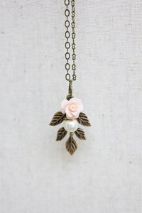 Pink Rose Charm Necklace