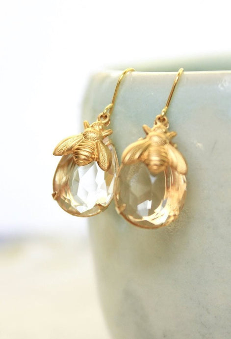 Honey Bee Earrings - Glass Drops