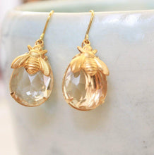 Load image into Gallery viewer, Honey Bee Earrings - Glass Drops