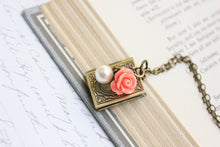 Load image into Gallery viewer, Book Locket - Coral Rose