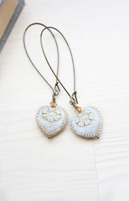 Long Earrings - Antique White Heart