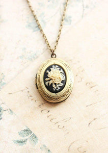 Black Floral Cameo Locket