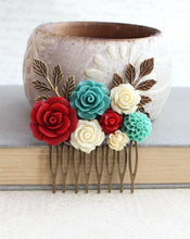Load image into Gallery viewer, Teal and Red Floral Comb - C1038