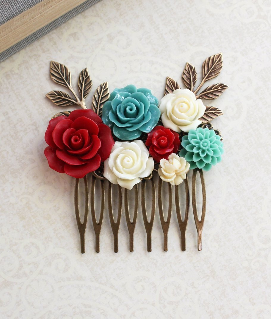 Teal and Red Floral Comb - C1038