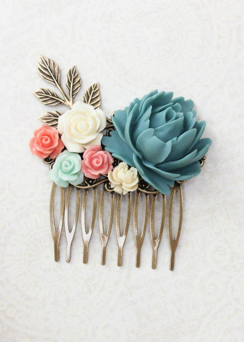 Teal and Coral Comb - C1024