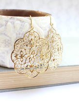 Load image into Gallery viewer, Lacy Filigree Earrings - Gold