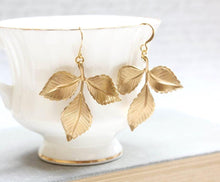 Load image into Gallery viewer, Three Leaf Branch Earrings - Gold Brass