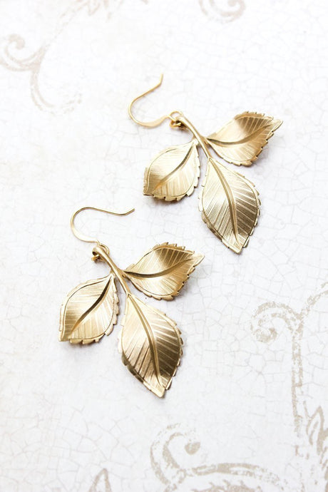 Three Leaf Branch Earrings - Gold Brass