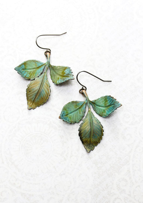 Three Leaf Branch Earrings - Verdigris Patina