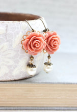 Load image into Gallery viewer, Coral Rose Earrings - Pearl Drops