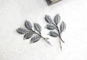 Branch Bobby Pins - Antiqued Silver (2 pin set)