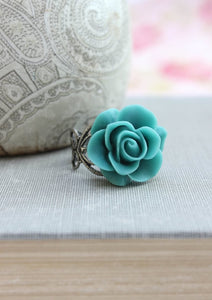 Deep Teal Rose Ring
