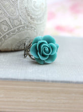 Load image into Gallery viewer, Deep Teal Rose Ring