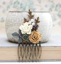 Load image into Gallery viewer, Rustic Floral Hair Comb - C1031