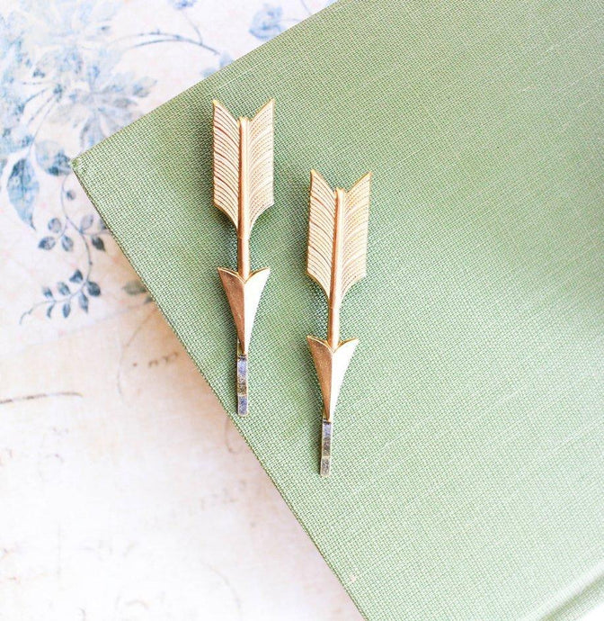 Arrow Bobby Pins - Gold Brass