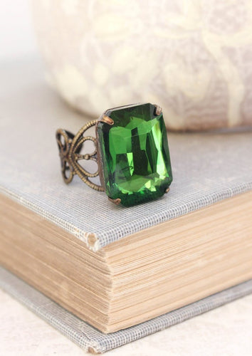 Green Glass Jewel Ring