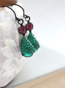 Emerald Vintage Glass Earrings