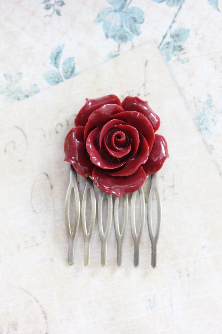Red Rose Hair Comb - C1076
