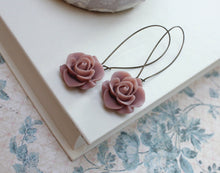 Load image into Gallery viewer, Long Dusty Rose Earrings
