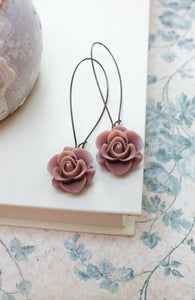 Long Dusty Rose Earrings