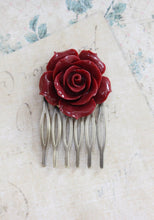 Load image into Gallery viewer, Red Rose Hair Comb - C1076