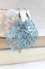 Load image into Gallery viewer, Damask Filigree Earrings - Aqua