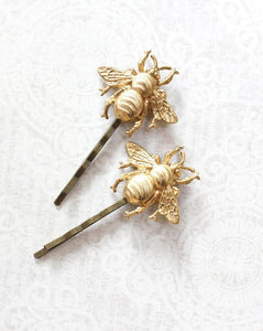 Bee Bobby Pins - Gold Brass (set of 2 pins)