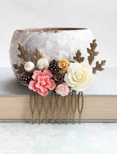 Load image into Gallery viewer, Rustic Pink Floral Comb - C1033
