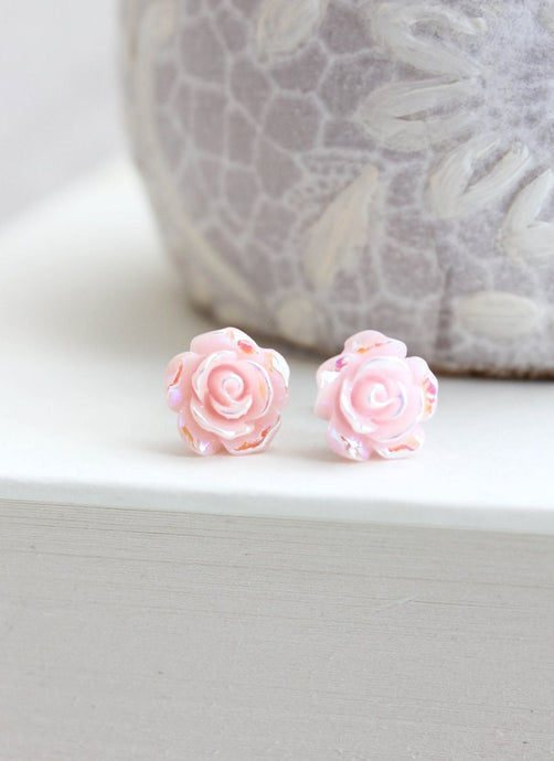 Shimmer Rose Studs - Light Pink
