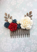 Load image into Gallery viewer, Red and Navy Floral Comb - C1017