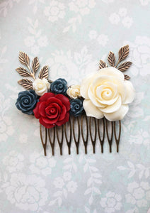 Red and Navy Floral Comb - C1017