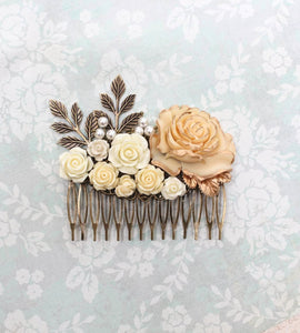 Flowers and Pearls Hair Comb - C1003