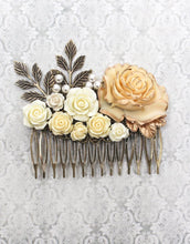 Load image into Gallery viewer, Flowers and Pearls Hair Comb - C1003