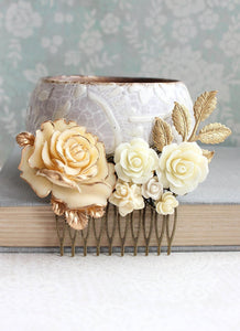 Gold and Cream Floral Comb - C1059