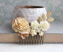 Load image into Gallery viewer, Gold and Cream Floral Comb - C1059