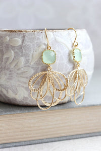 Gold Loop Earrings -Mint Green