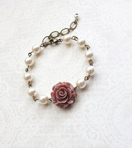 Rose and Pearl Bracelets