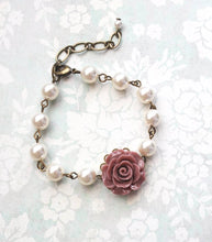 Load image into Gallery viewer, Rose and Pearl Bracelets